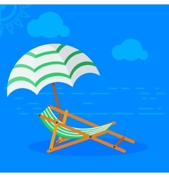 Sun bed on beach vector