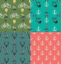 Hipster colorful seamless pattern set background vector