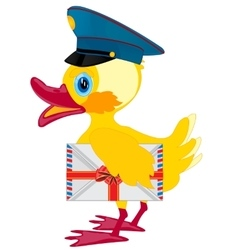 Duckling postman with envelope vector image
