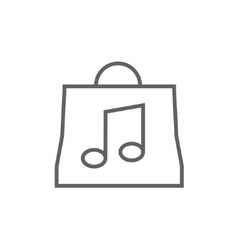 Bag with music note line icon vector