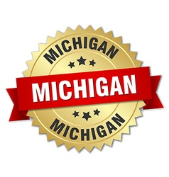 Michigan round golden badge with red ribbon vector