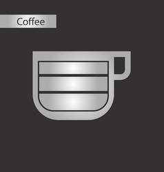 black and white style cup latte macchiato vector image