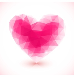 Bright pink crystal isolated heart vector