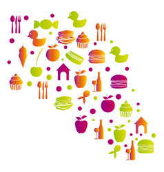 Colorful pattern with food elements icon vector