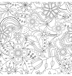 Coloring pattern with flowers vector image vector image