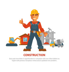 Construction advertisement banner with man in vector