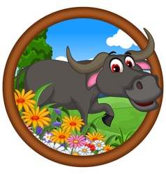 Cute buffalo cartoon posing vector
