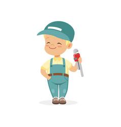cute preschool boy dressed as plumber cartoon vector image vector image