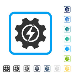 Electric power cog gear framed icon vector