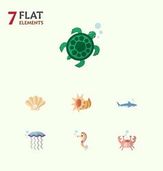 Flat icon nature set of cancer medusa shark and vector