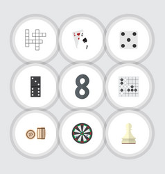 Flat icon play set of lottery arrow bones game vector