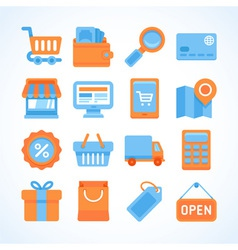 Flat icon set of shopping symbols vector