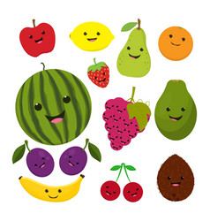fruit characters isolated on white vector image