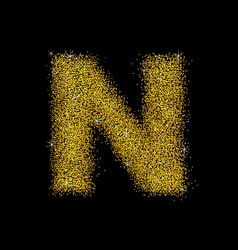 gold dust font type letter n vector image vector image