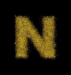 gold dust font type letter n vector image