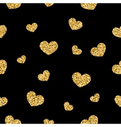 Golden hearts seamless pattern 1 black vector image vector image