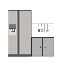 Gray scale silhouette fridge and cabinet vector