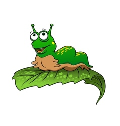 Green cartoon caterpillar insect vector