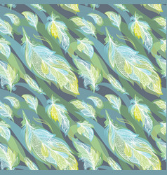 green feather pattern vector image vector image