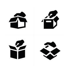Hand and box icon design vector