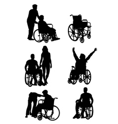 Handicapped and wheelchair Silhouettes vector image