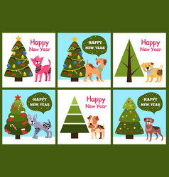 happy new year posters set christmas trees puppies vector image vector image