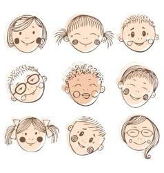 kids friends doodle set vector image