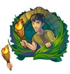 Man traveler in woods maya scientific expedition vector