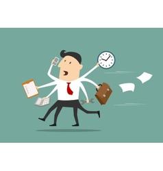 Multitasking businessman running flat concept vector image