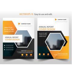 orange hexagon annual report brochure design vector image
