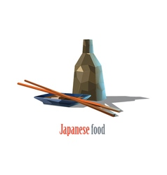 polygonal of Japanese food asian cuisine vector image