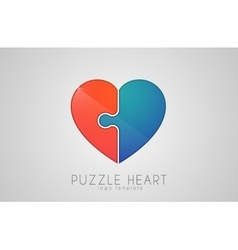 Puzzle heart love logo design heart logo design vector