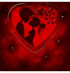red background and the silhouettes of the two vector image vector image