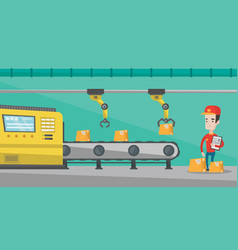 robotic arm working on production line vector image