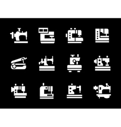 Simple white glyph garment factory icons vector image