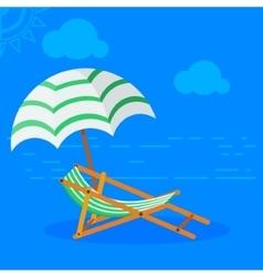 Sun bed on beach vector