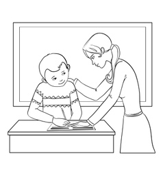 Teacher helps a boy in classroom vector image vector image
