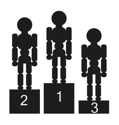 Three people stand on the podium sign vector