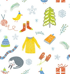 Winter and Christmas seamless pattern - cute vector image vector image