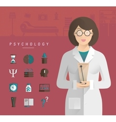 Women in a white coat psychologist vector