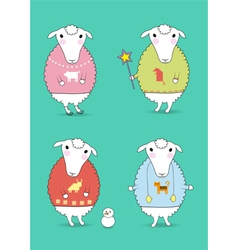 Cartoon white sheeps with colorful pullovers vector