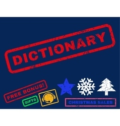 Dictionary rubber stamp vector