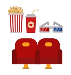 Cinema chairs and entertainment equipment vector