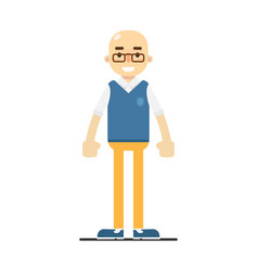 Adult bald man in pullover pants and shirt vector