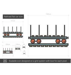 Railroad flat car line icon vector