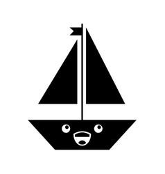Sail boat kawaii character vector