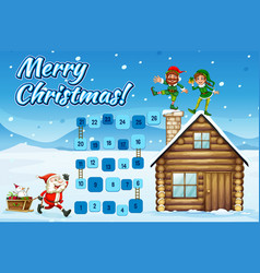 Boardgame template wtih santa and elves vector
