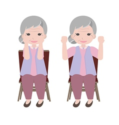 Old woman exercise vector
