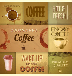 Collection of vintage coffee design elements vector