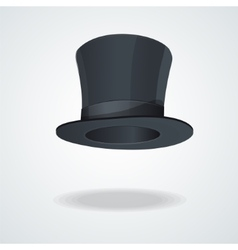 Black top hat on white vector